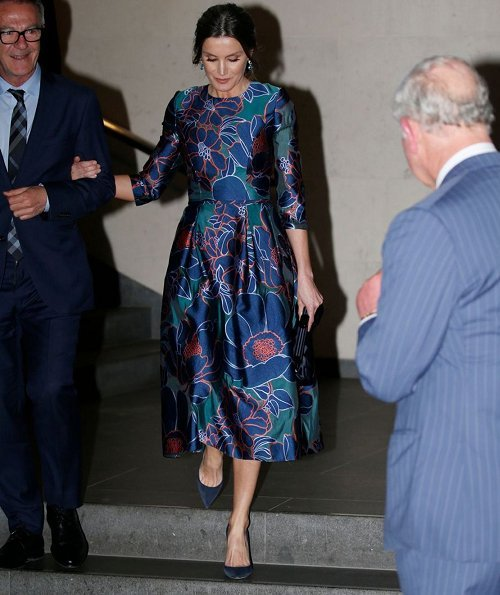 Queen Letizia wore a floral print dress by Carolina Herrera. Prince Charles