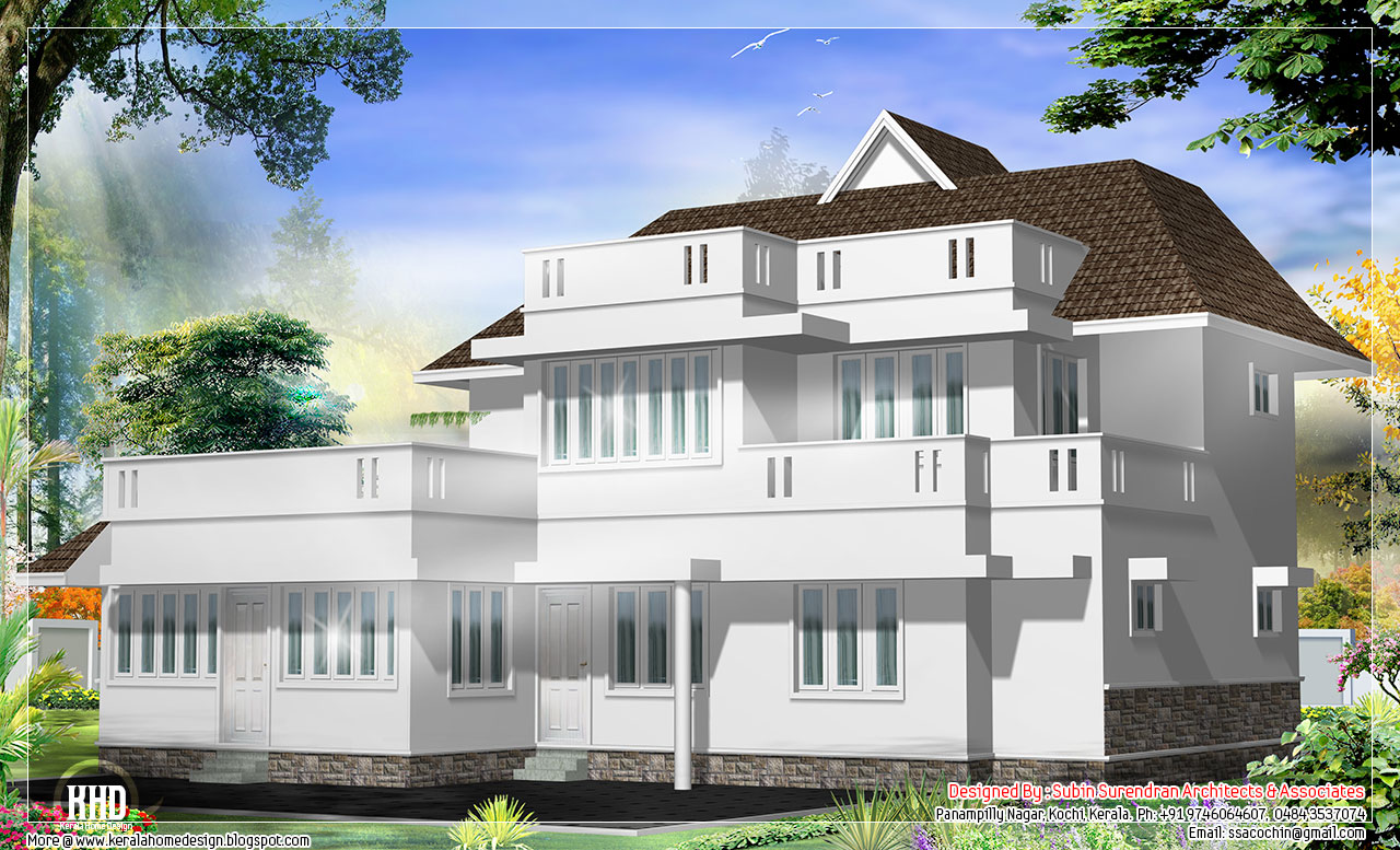 Western model 4 bedroom house design kerala home design for Western style house plans