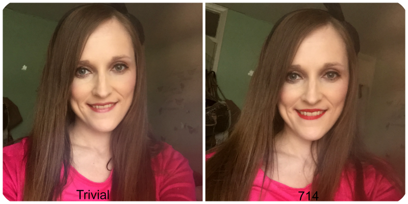 wearing urban decay vice liquid lipsticks trivial and 714
