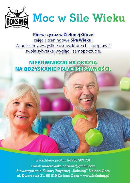 treningi, siła wieku, senior, 50+, ćwiczenia, fitness, fit, aktywność osób starszych, aktywność, zajęcia, Zielona Góra, Boksing, Adriana Marczewska, odmładzanie, usprawnianie, ogólnorozwojowy,