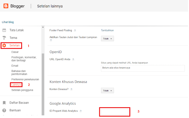 Memasukan Tracking ID Google Analytics Ke Blog