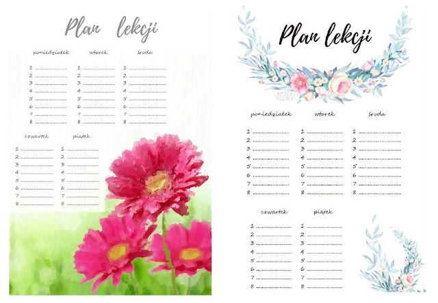 plan lekcji do druku kwiaty