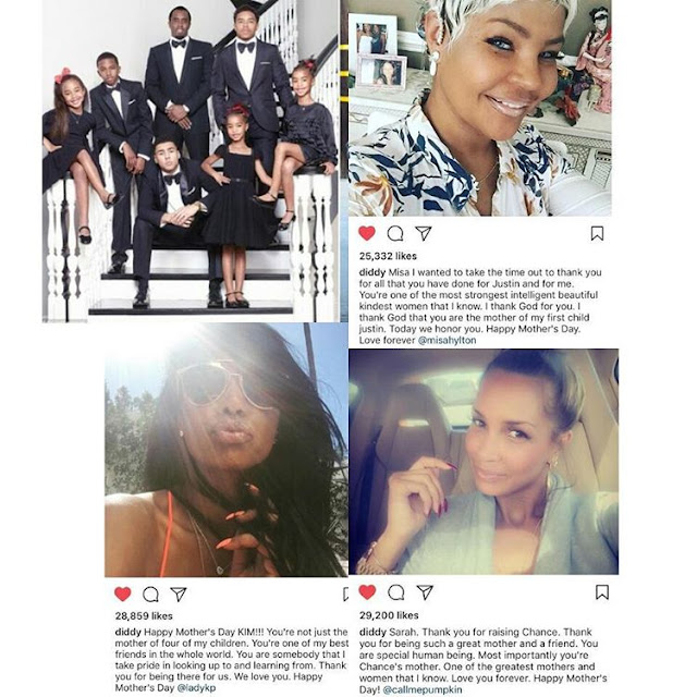 Diddy showoff his 3 baby mamas, sends them sweet messages for mother's day  The producer/rapper who has five children with three different women, made sure he acknowledged them all on mother's day.  His two sons are Justin and Christian Combs, and his daughters are Chance and twins: D'Lila Star and Jessie James. One of his three sons, Quincy was adopted.