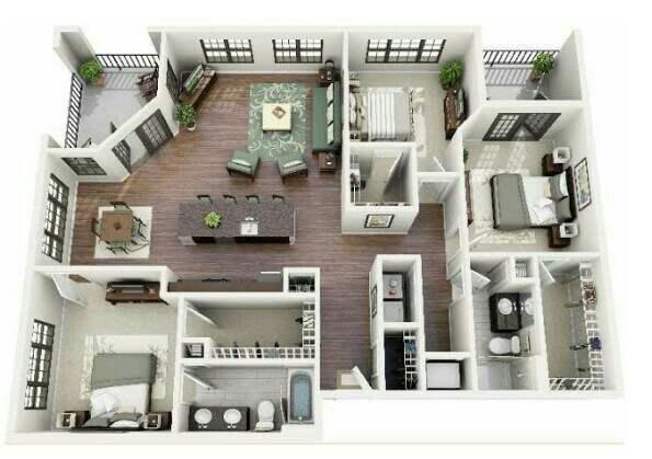 Denah Rumah Minimalis 3 kamar 3d