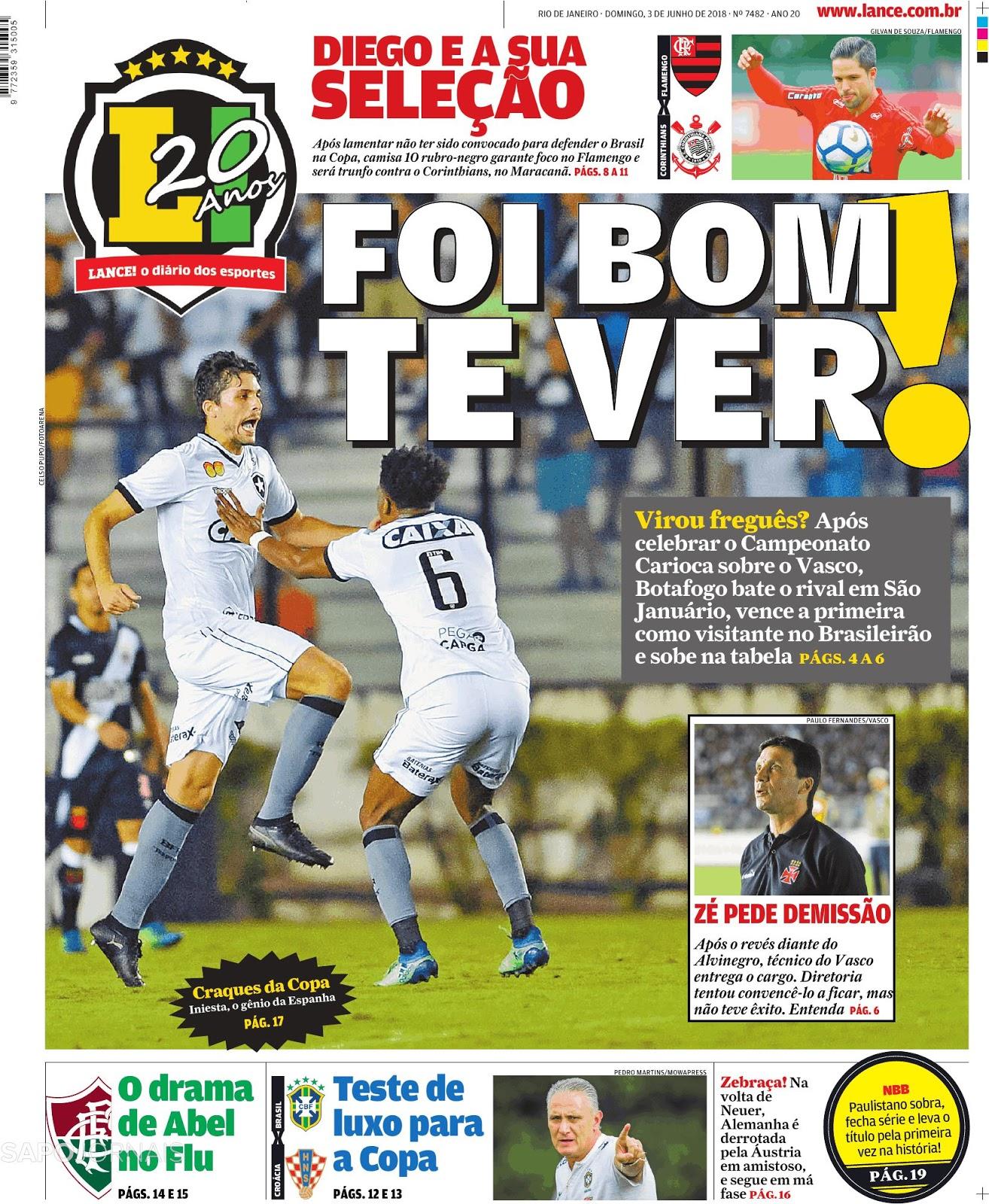 94abf08302614 Botafogo vence Vasco e recupera-se na tabela da Série A - Tudo igual entre  Atlético-MG x Chapecoense e Internacional x Sport(Vídeos)