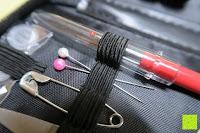 Stecknadeln ohne Schutz: Gwhole Nähset Nähzeug mit Etui Nähutensilien Set für Reise Notfall Haushalt Nähgarn, Maßband, Schere