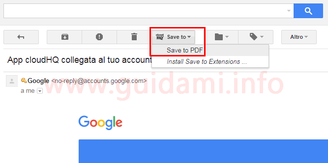 Email Gmail e pulsante Save to per salvare l'email in PDF