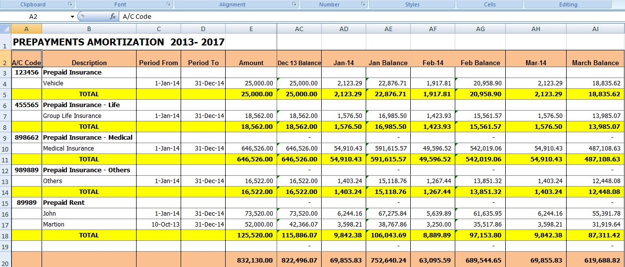 Excel for All Prepaid expense amortization template to automate