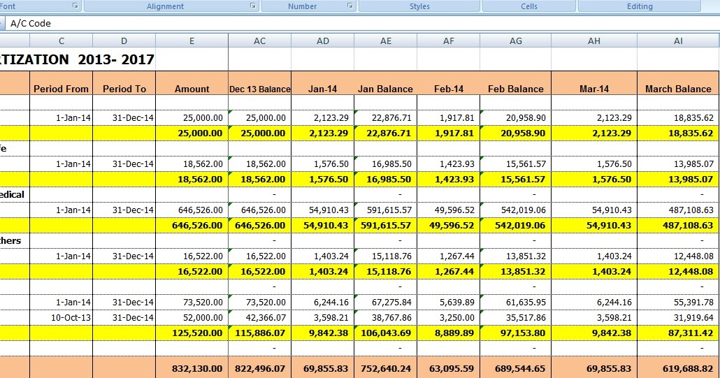 prepaid schedule excel template