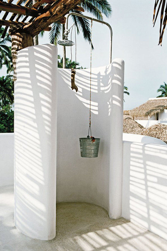 Outdoor shower | Image of Hotel Azúcar in Mexico via Condé Nast Traveller