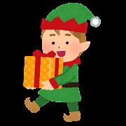クリスマスプレゼントを運ぶエルフのイラスト