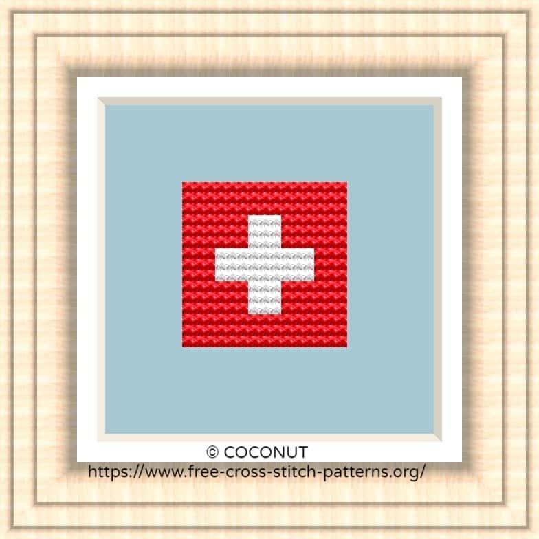 NATIONAL FLAG OF SWITZERLAND CROSS STITCH CHART
