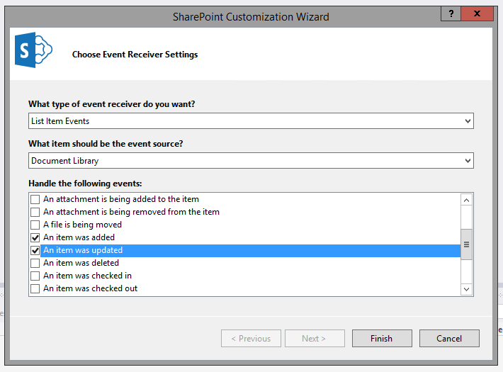 Lucky tech share custom event handler in sharepoint 2013 using here i have chosen library and also selected item added and updated events maxwellsz