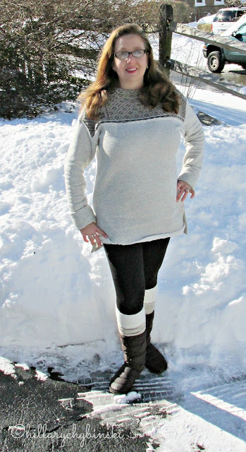 Layers for Winter Weather - Leggings and a Sweatshirt with Boots