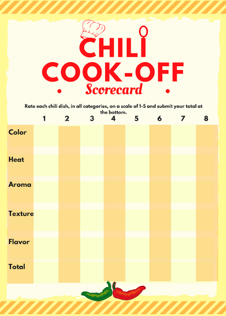 Chili Cook-off free, printables - invite, scorecard, award certificate, and crock pot tags #food #chili #chilicookoff  #spicy #ccokoff #partyideas #ideas #party