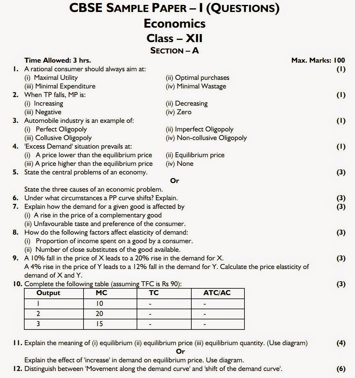 Cbse 2015: economics class xii board question paper.