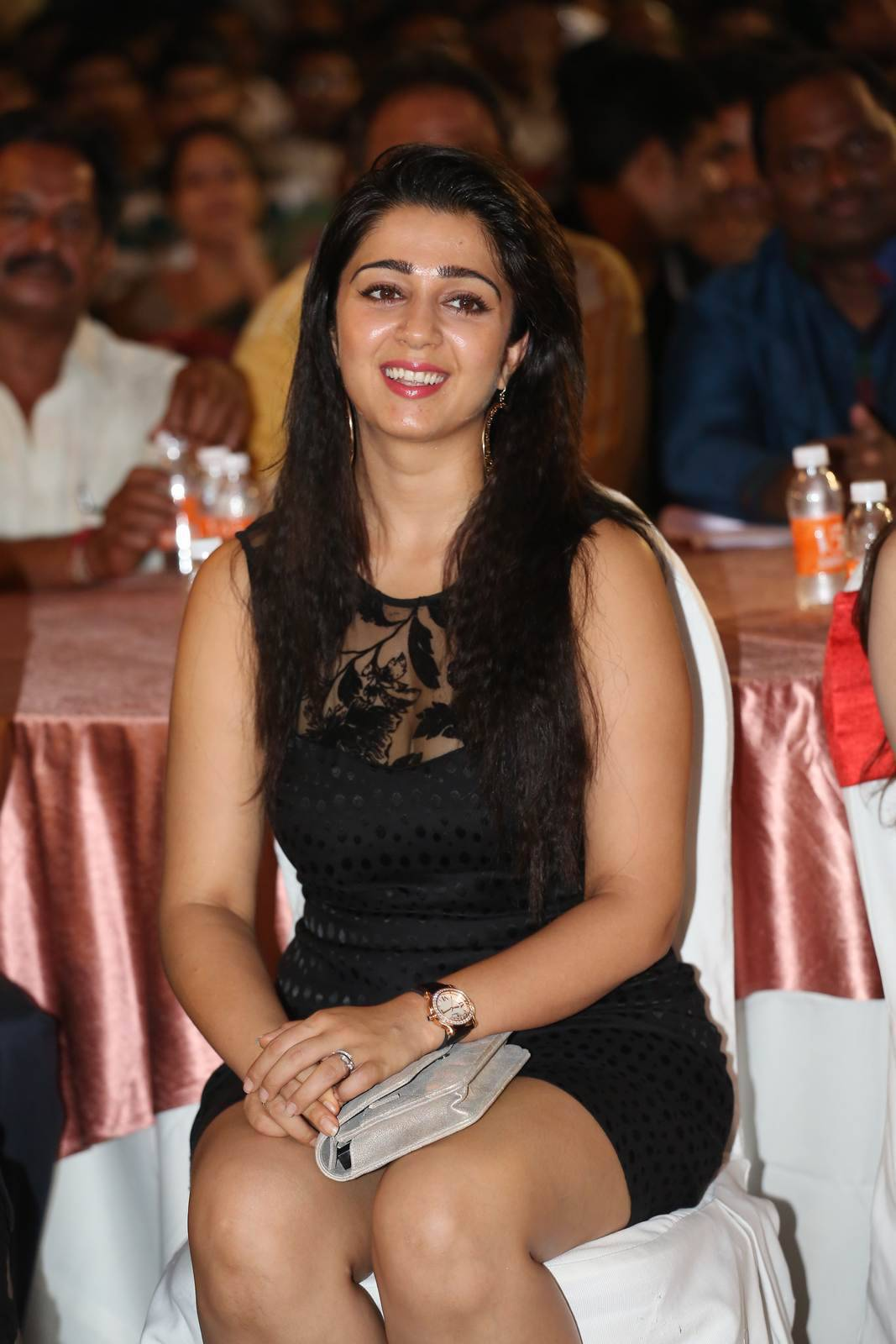 Charmi Photo Gallery, Charmee Kaur Pics Clicked in Black Dress at Event