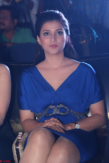 Mannara Chopra in Short Blue Dress at Rogue Movie Teaser Launch 1st March 2017 012.JPG