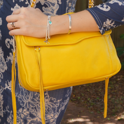 Rebecca Minkoff Swing bag in canary yellow with blue paisley print dress