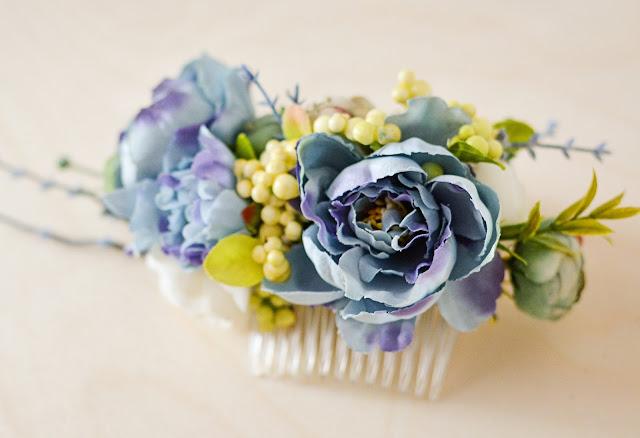 blue wedding flower comb with boutonnierre - wesele grzebień do włosów
