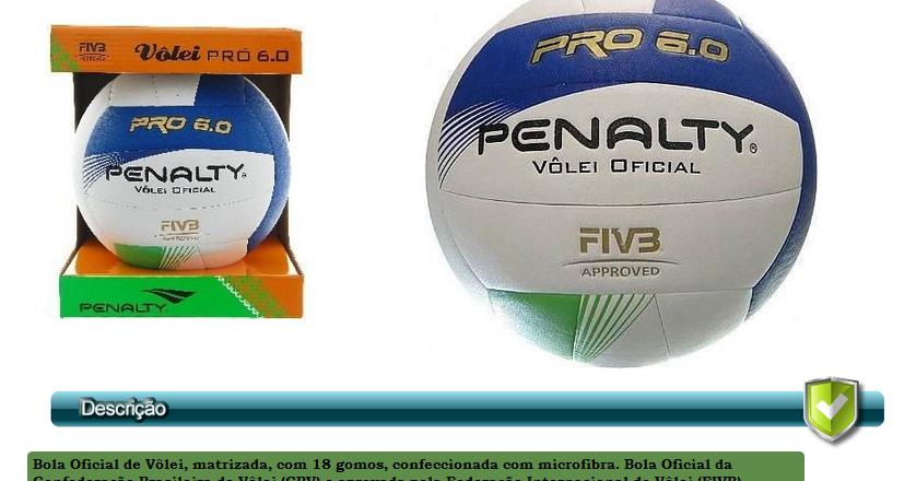 05290f2e57 100% Impacto Sports Center  Bola de Volei Oficial - Penalty Pro.6.0 Por  apenas R 159