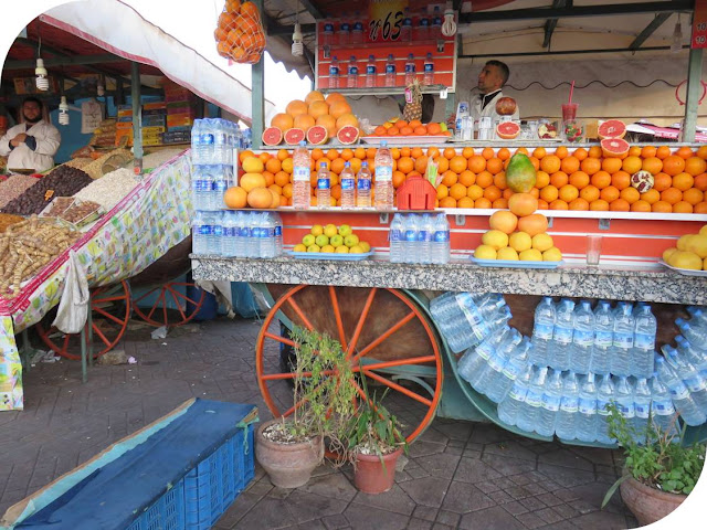 Long Weekend in Marrakech - Sidewalk Safari - Orange Juice Stall on Jemaa el-Fnaa