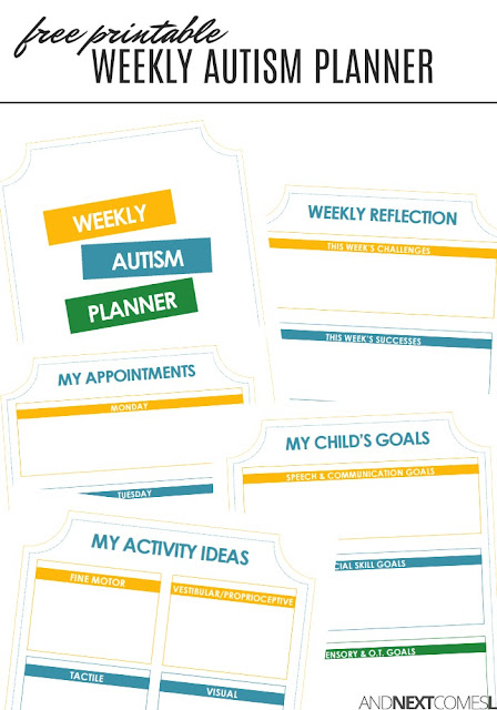 Free printable weekly autism planner for parents
