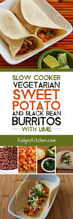 Slow Cooker Vegetarian Sweet Potato and Black Bean Burritos with Lime found on KalynsKitchen.com