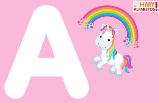 Alfabeto con Unicornio en Fondo Rosa.