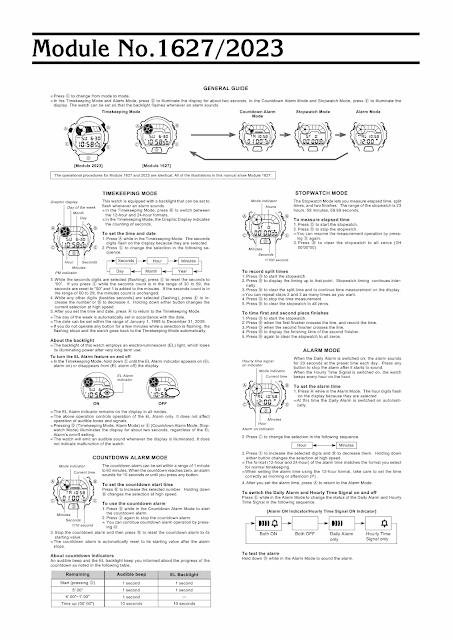 Casio G-Shock 1627 module operation manual