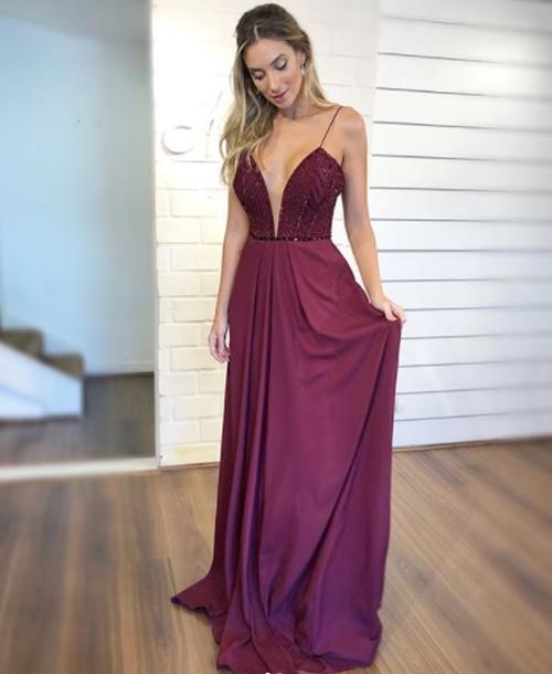 vestido longo vinho marsala