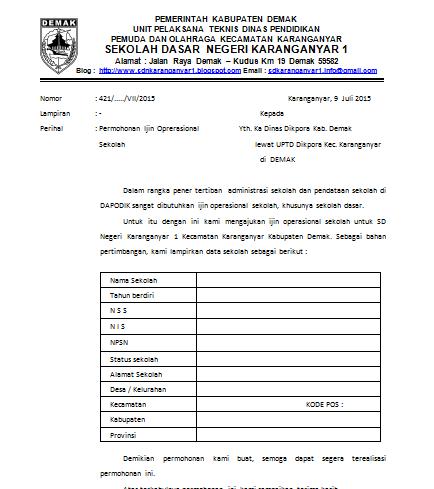 Contoh Surat Permohonan Izin Operasional Sekolah Dasar Dapatkan Contoh