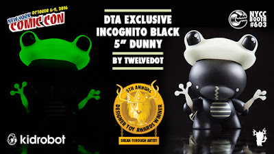 "New York Comic Con 2016 Exclusive Black Incognito 5"" Dunny by twelveDot x Designer Toy Awards x Kidrobot x Clutter Magazine"