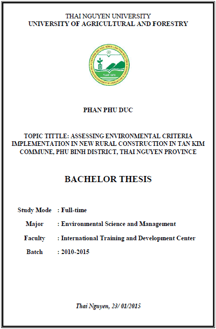 Assessing environmental criteria implementation in new rural construction in Tan Kim commune, Phu Binh district, Thai Nguyen province