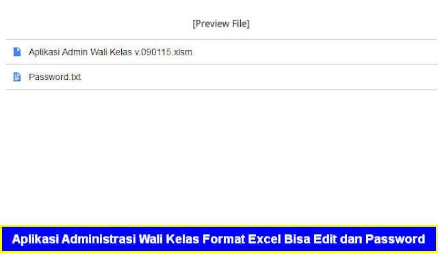 Aplikasi Administrasi Wali Kelas Format Excel Bisa Edit dan Password