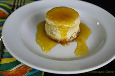 mango sauce, cheesecake,