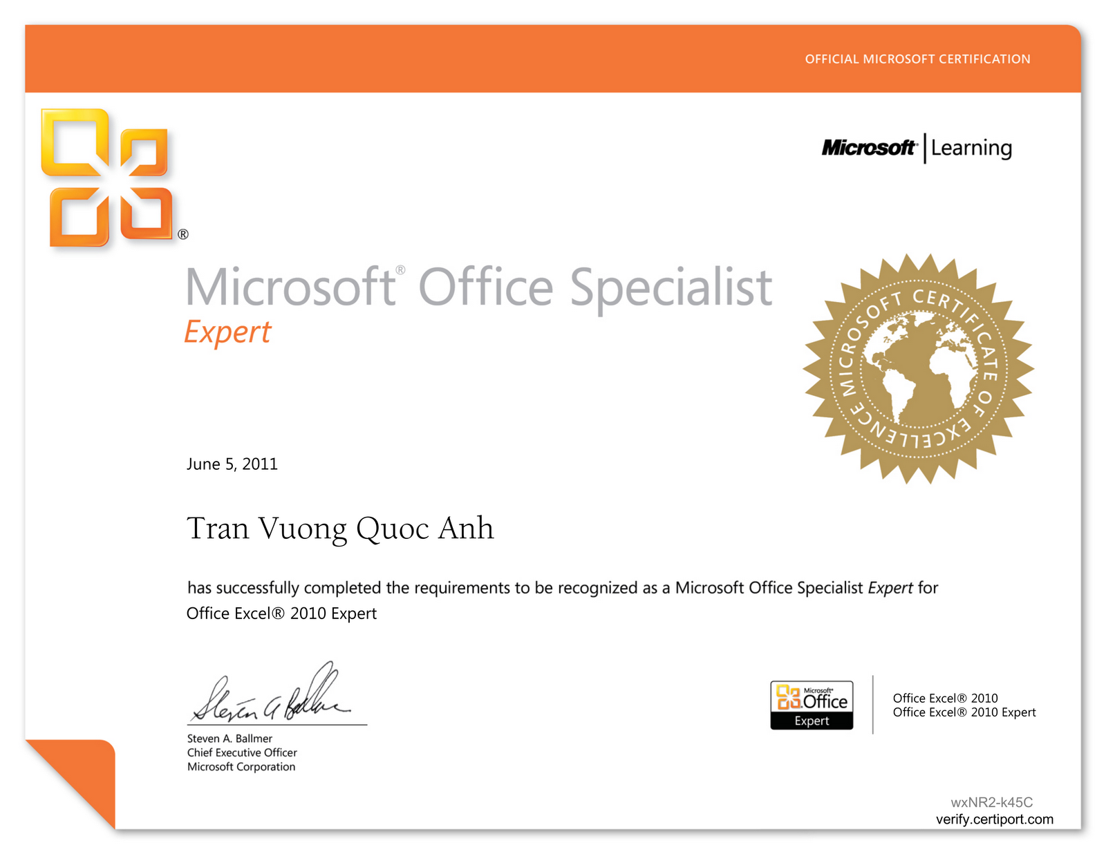My mos certificate noob blogger mos microsoft office specialist excel 2010 expert 1betcityfo Images