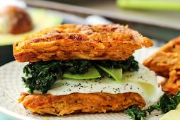 Paleo Sweet Potato Waffle Breakfast Sandwich #vegan #recipevegetarian