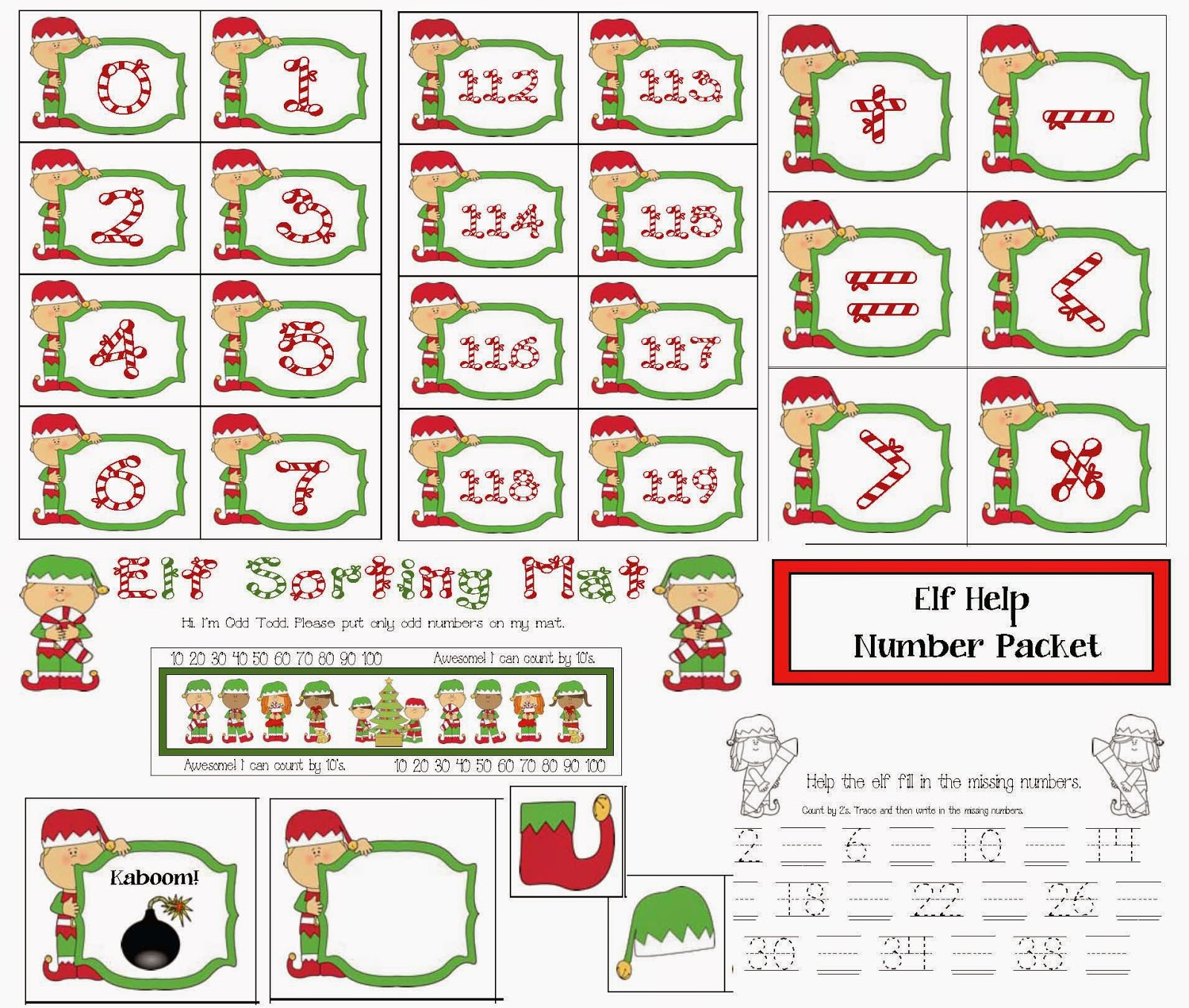 Classroom Freebies Elf Themed Number Packet