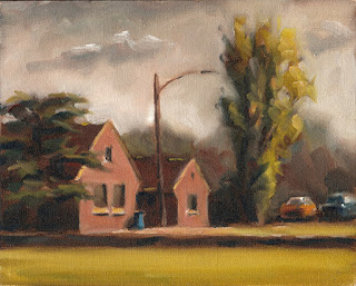 Oil painting of red brick buildings with pitched rooves with flanked by trees.