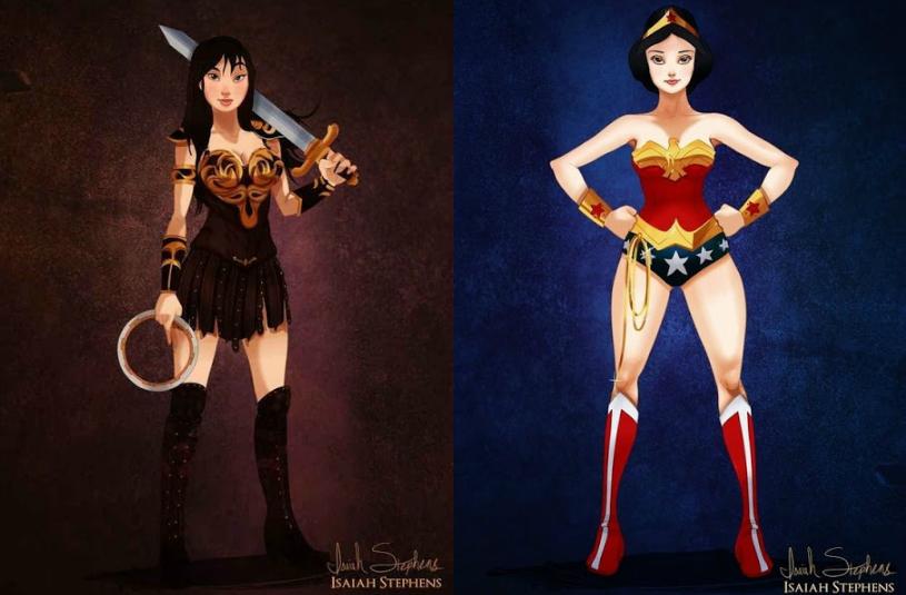 Senhorita Meow Ilustrações Princesas Disney como super heroínas