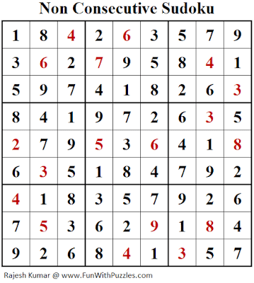 Answer of Non Consecutive Sudoku Puzzle (Fun With Sudoku #378)