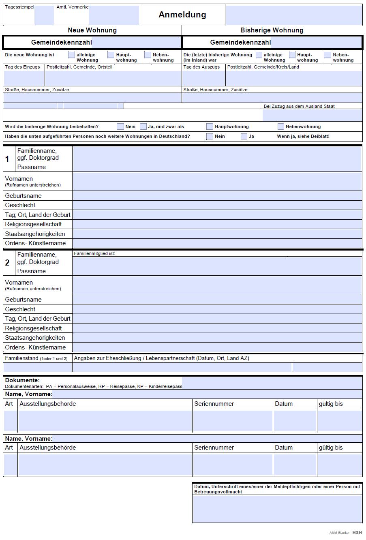 Formulário para o Meldebestätigung