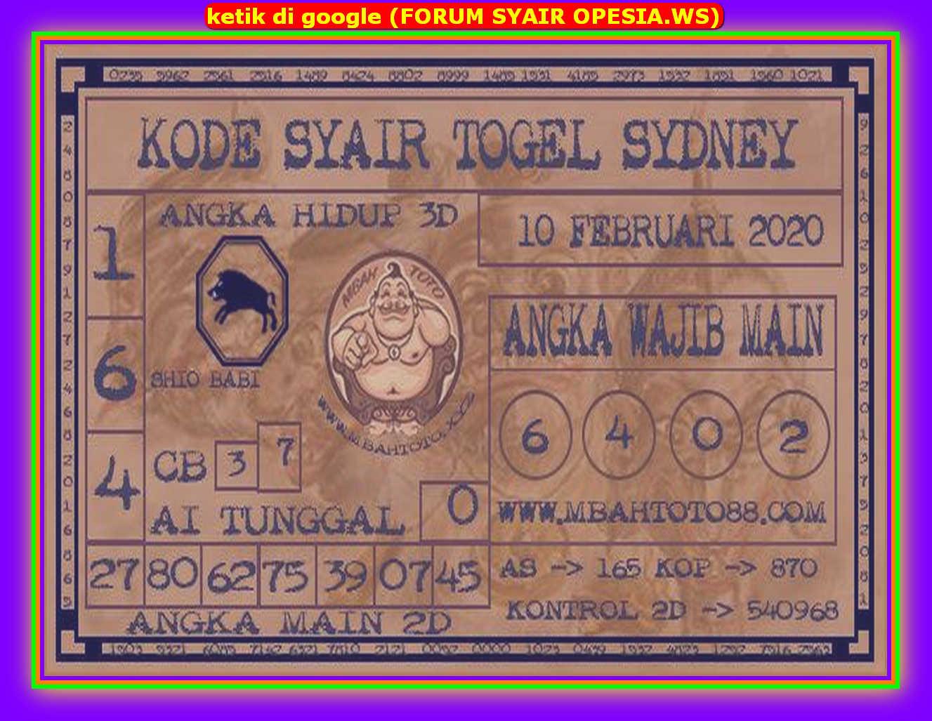 Kode syair Sydney Senin 10 Februari 2020 87