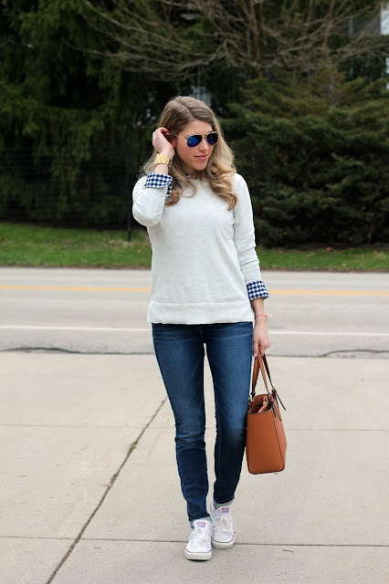 gingham button up under grey sweater, Silver Jeans, Tory Burch tote, Ray Ban aviators, JORD Delmar Drift