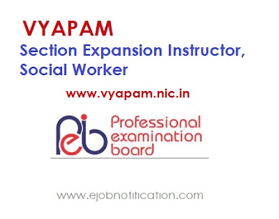 VYAPAM 192 Section Expansion Instructor, Social Worker Recruitment 2017 vyapam.nic.in