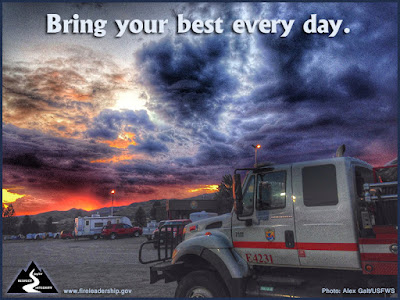 Bring your best every day. (Wildland fire engine with sunset in background)