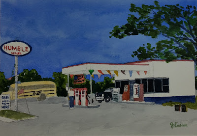Watercolor 1961 Gas Station - John Keese