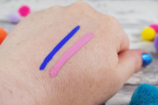 NYX Vivid Brights Eyeliner in Saphhire & Petal Swatches
