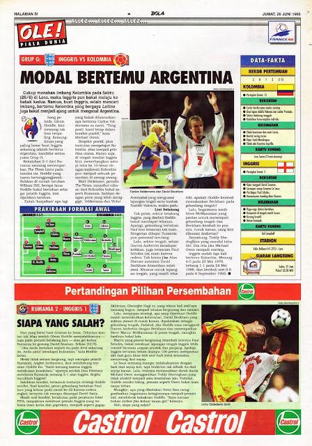 WORLD CUP 1998 ENGLAND VS COLOMBIA DAVID BECKHAM VS VALDERAMA